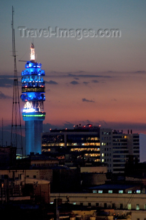 chile286: Santiago de Chile: transmission tower - nocturnal - photo by P.Jolivet - (c) Travel-Images.com - Stock Photography agency - Image Bank