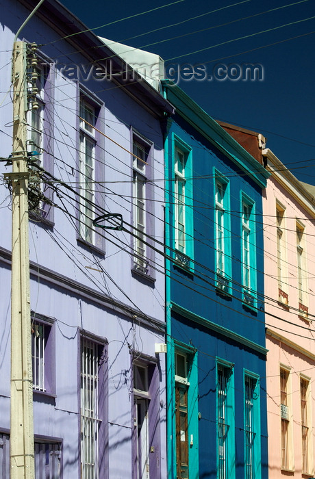 chile290: Valparaíso, Chile: blue façades of Cerro Conception - photo by P.Jolivet - (c) Travel-Images.com - Stock Photography agency - Image Bank
