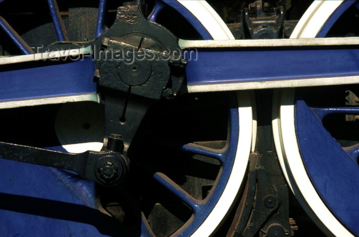 chile36: Chile - Santiago (RM): train wheels - steam locomotive - open air railway museum | ruedas de una locomotora de vapor - Museo Ferroviario - photo by W.Schipper - (c) Travel-Images.com - Stock Photography agency - Image Bank