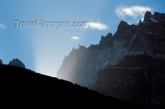chile41: Torres del Paine National Park, Magallanes region, Chile: magic sunlight backlights the Towers of Paine- Chilean Patagonia - photo by C.Lovell - (c) Travel-Images.com - Stock Photography agency - Image Bank