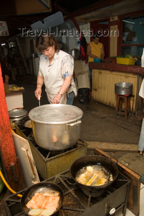 chile48: Puerto Montt, Llanquihue Province, Los Lagos Region, Chile: preparing food at the Fish Market - frying and boiling - photo by D.Smith - (c) Travel-Images.com - Stock Photography agency - Image Bank