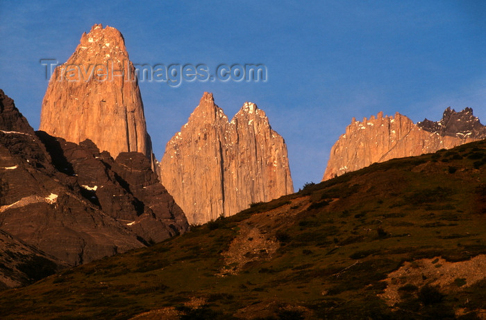 chile50: Torres del Paine National Park, Magallanes region, Chile: sunrise on the Towers of Paine - vertical granite pillars - Chilean Patagonia - photo by C.Lovell - (c) Travel-Images.com - Stock Photography agency - Image Bank