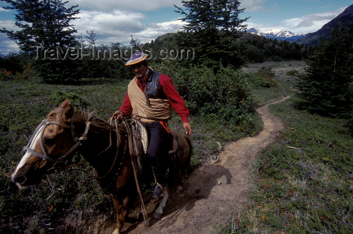 chile51: Torres del Paine National Park, Magallanes region, Chile: gaucho on horse on the W trail - Chilean Patagonia - photo by C.Lovell - (c) Travel-Images.com - Stock Photography agency - Image Bank