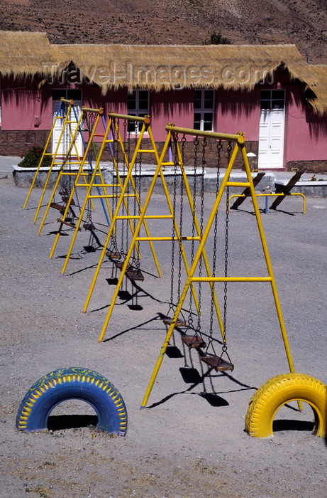 chile52: Putre, Arica and Parinacota region, Chile: Chilean school with swings in the Aymara village of Putre - Northern Chile - photo by C.Lovell - (c) Travel-Images.com - Stock Photography agency - Image Bank