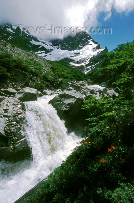 chile59: Torres del Paine National Park, Magallanes region, Chile: Andes peak Paine Grande and waterfall in the French River in the French Valley- photo by C.Lovell - (c) Travel-Images.com - Stock Photography agency - Image Bank