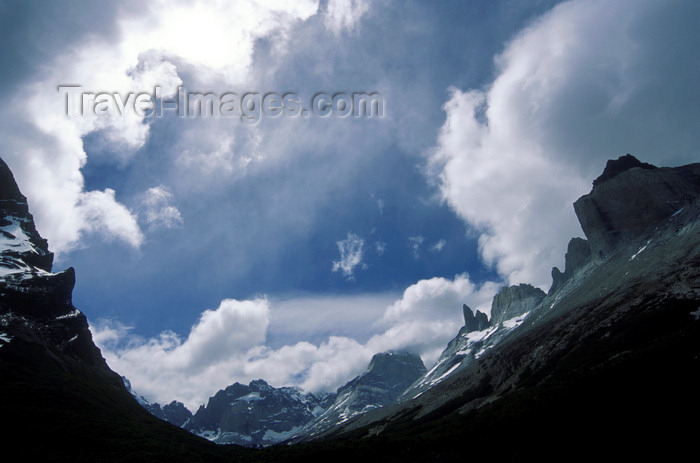 chile62: Torres del Paine National Park, Magallanes region, Chile: peaks and sky above French Valley - photo by C.Lovell - (c) Travel-Images.com - Stock Photography agency - Image Bank