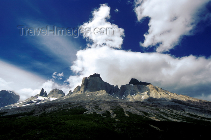 chile64: Torres del Paine National Park, Magallanes region, Chile: Los Cuernos from the French Valley – intense sky with white clouds - photo by C.Lovell - (c) Travel-Images.com - Stock Photography agency - Image Bank
