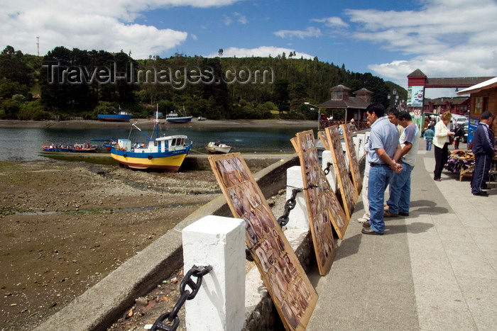 chile65: Puerto Montt, Llanquihue Province, Los Lagos Region, Chile: photographic art on display at the Fishing harbour - Angelmó - photo by D.Smith - (c) Travel-Images.com - Stock Photography agency - Image Bank