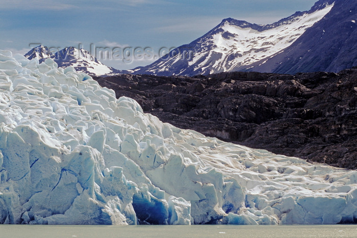 chile86: Torres del Paine National Park, Magallanes region, Chile: the massive wall of ice that is Grey Glacier ends at Grey Lake - Chilean Patagonia - photo by C.Lovell - (c) Travel-Images.com - Stock Photography agency - Image Bank