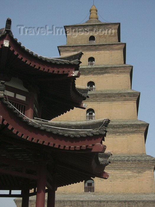 china197: China - Xi'an (capital of Shaanxi province): roof and Big Goose Pagoda - photo by M.Samper - (c) Travel-Images.com - Stock Photography agency - Image Bank