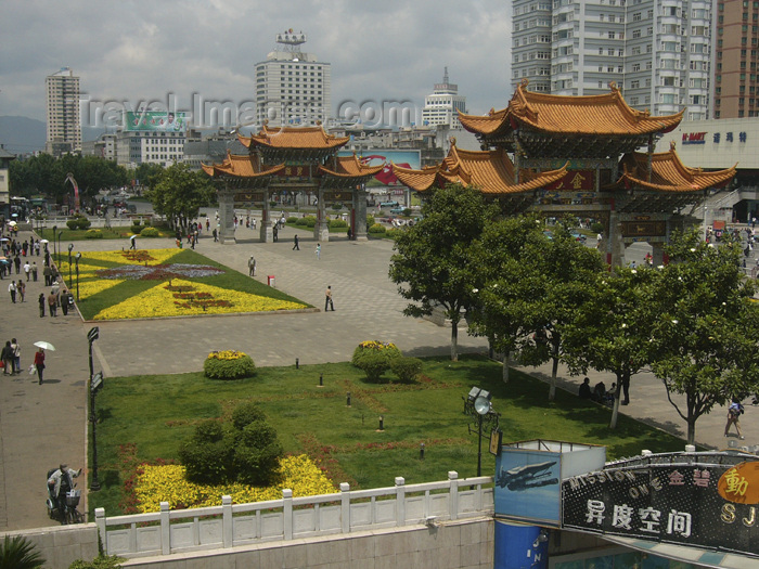 china222: Kunming, Yunnan Province, China: central square of the provincial capital - grand gates - photo by M.Samper - (c) Travel-Images.com - Stock Photography agency - Image Bank