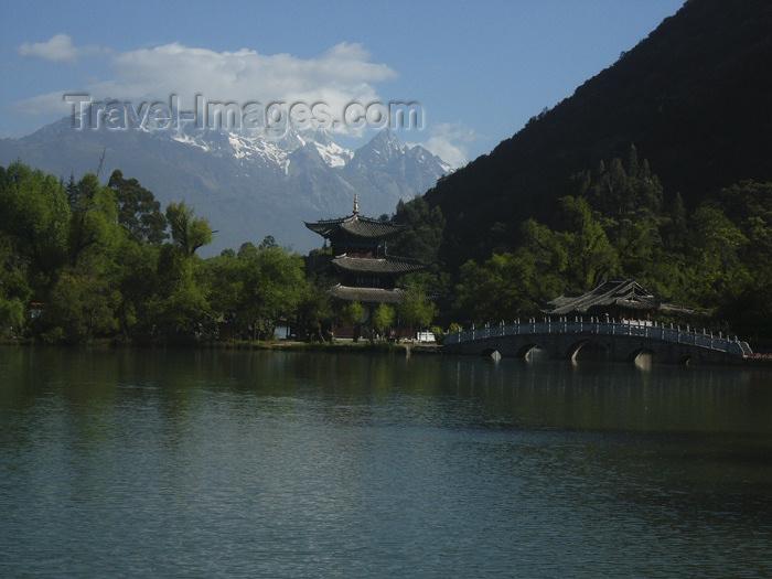 china231: Lijiang, Yunnan Province, China: Dragon Park - pond, pagoda, bridge and mountains - photo by M.Samper - (c) Travel-Images.com - Stock Photography agency - Image Bank