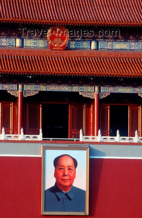 china241: Beijing, China: Tiananmen Square - Mao portrait at the Gate of Heavenly Peace - entrance to the Imperial City - photo by B.Henry - (c) Travel-Images.com - Stock Photography agency - Image Bank
