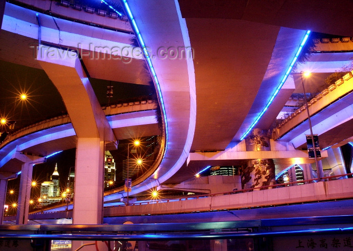 china66: China - Shanghai / SHA: bridges - neon overpasses - nocturnal - viaduct - civil engineering - photo by G.Friedman - (c) Travel-Images.com - Stock Photography agency - Image Bank