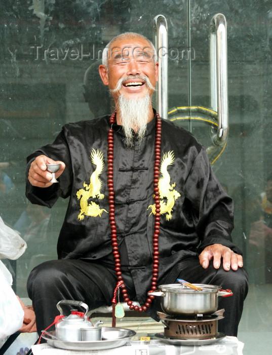 china68: China - Shanghai / SHA: happy old man drinking tea - photo by G.Friedman - (c) Travel-Images.com - Stock Photography agency - Image Bank