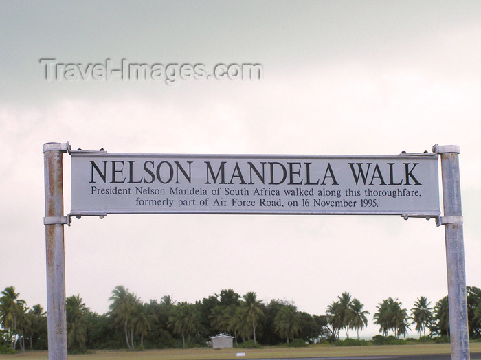 cocos-islands3: Cocos islands / Keeling islands / XKK - West Island: Nelson Mandela Walk - sign - photo by Air West Coast - (c) Travel-Images.com - Stock Photography agency - Image Bank