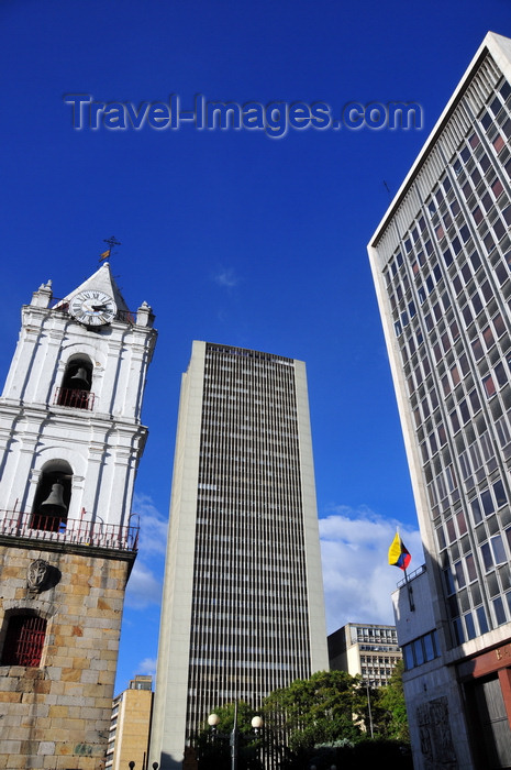 colombia121: Bogotá, Colombia: Avianca tower flanked by the Church of San Francisco and the Bank of the Republic - Av.Jiménez - Cra.7 - Veracruz - Santa Fe - photo by M.Torres - (c) Travel-Images.com - Stock Photography agency - Image Bank