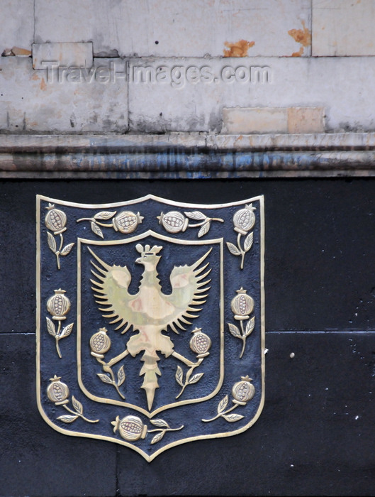colombia133: Bogotá, Colombia: black eagle of the Habsburgs - Bogota coat of arms on the building of the city's Ombudsman - Personeria de Bogota D.C. - Carrera 7a - escudo de la ciudad - Las Nieves - Santa Fe - photo by M.Torres - (c) Travel-Images.com - Stock Photography agency - Image Bank