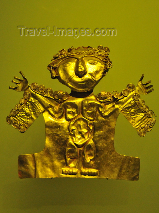 colombia147: Bogotá, Colombia: Gold Museum - Museo del Oro - hammered human figure with spread arms - goldsmiths used the annealing technique - photo by M.Torres - (c) Travel-Images.com - Stock Photography agency - Image Bank