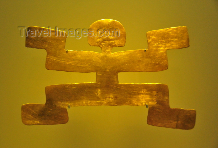 colombia161: Bogotá, Colombia: Gold Museum - Museo del Oro - Tolima pectoral representing a symmetrical human figure in a ritual posture, the legs mirror the arms - photo by M.Torres - (c) Travel-Images.com - Stock Photography agency - Image Bank