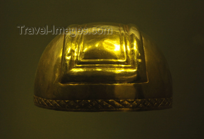 colombia166: Bogotá, Colombia: Gold Museum - Museo del Oro - hammered, embossed tumbaga helmet - Antioquia - Early Period, 500 B.C. to 700 A.D. - photo by M.Torres - (c) Travel-Images.com - Stock Photography agency - Image Bank