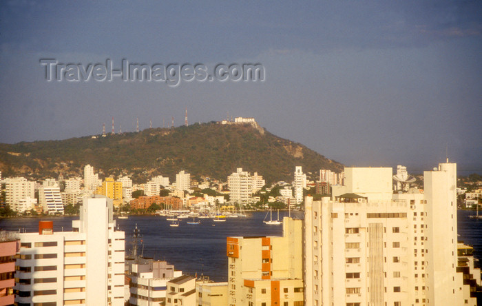 colombia17: Colombia - Cartagena: view across the new city to Convento de la Popa - photo by D.Forman - (c) Travel-Images.com - Stock Photography agency - Image Bank