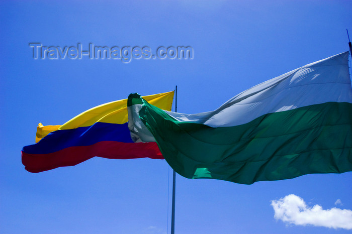 colombia20: Medellín, Colombia: flags of Medellín and the Colombian Republic against a blue sky - photo by E.Estrada - (c) Travel-Images.com - Stock Photography agency - Image Bank
