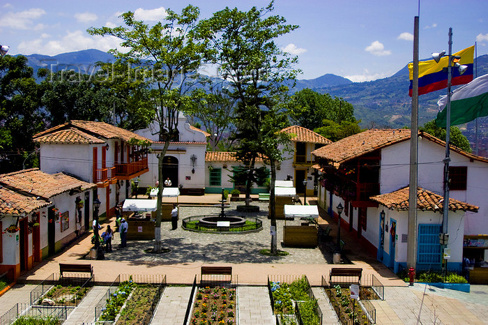 colombia26: Medellín, Colombia: small square with Spanish colonial architecture - replica of a typical Antioqian Paisa village situated on the top Cerro Nutibarra - Pueblito Paisa - photo by E.Estrada - (c) Travel-Images.com - Stock Photography agency - Image Bank