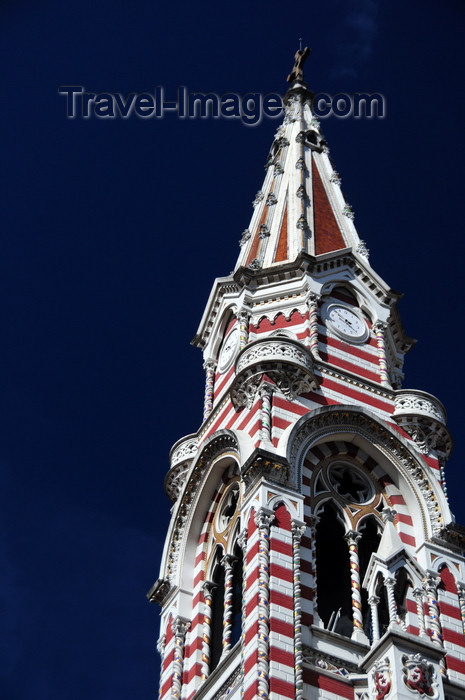 colombia51: Bogotá, Colombia: bell tower of Iglesia del Carmen - church spire - Salesians of Don Bosco - Centro Administrativo - La Candelaria - photo by M.Torres - (c) Travel-Images.com - Stock Photography agency - Image Bank