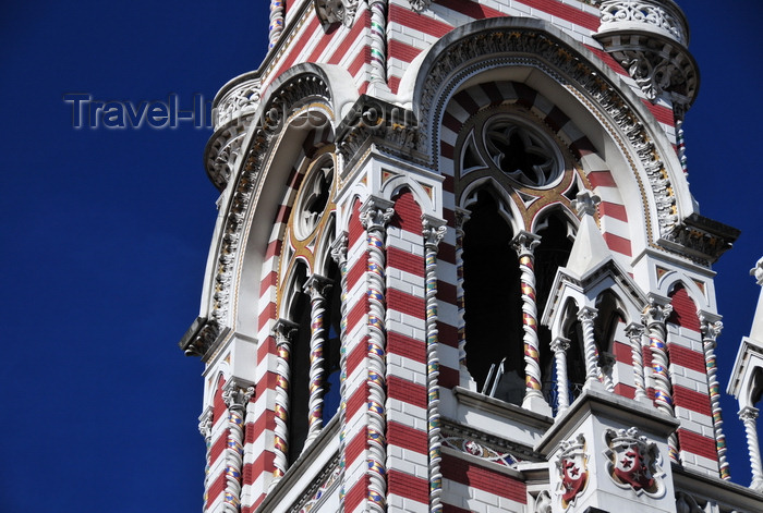 colombia52: Bogotá, Colombia: Iglesia del Carmen - detail of the bell tower - Florentine Gothic style - Centro Administrativo - La Candelaria - photo by M.Torres - (c) Travel-Images.com - Stock Photography agency - Image Bank