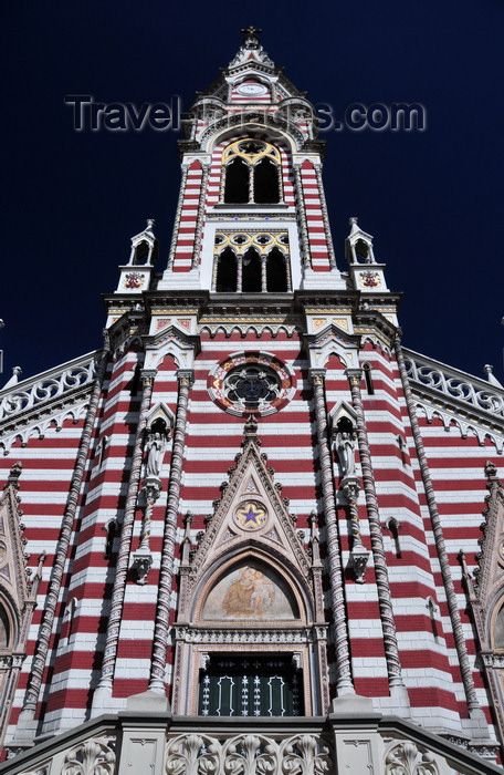 colombia57: Bogotá, Colombia: Iglesia del Carmen - interpolated  brown and cream paint, emblematic colors of the Carmelite - Carrera 5 - Centro Administrativo - La Candelaria - photo by M.Torres - (c) Travel-Images.com - Stock Photography agency - Image Bank