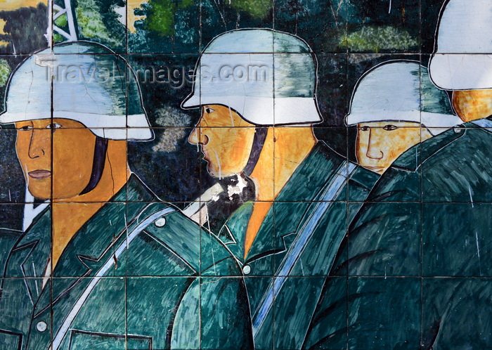 congo93: Brazzaville, Congo: de Gaulle square, off Avenue de Djoué - tiles by Albert Massamba representing German soldiers of the Wehrmacht (Heer) - photo by M.Torres - (c) Travel-Images.com - Stock Photography agency - Image Bank