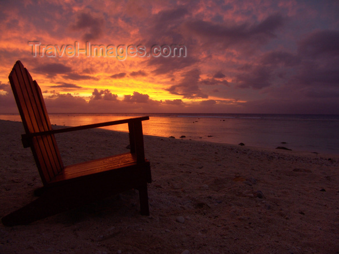cook17: Cook Islands - Rarotonga island: chair overlooking sunset at Black Rock beach - photo by B.Goode - (c) Travel-Images.com - Stock Photography agency - Image Bank