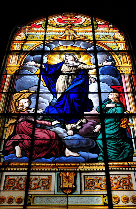 costa-rica75: San José, Costa Rica: Metropolitan Cathedral - stained glass - Virgin Mary - photo by M.Torres - (c) Travel-Images.com - Stock Photography agency - Image Bank