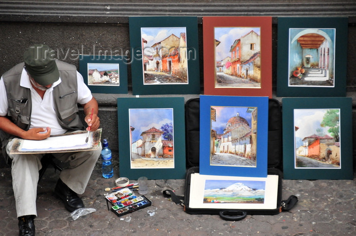 costa-rica77: San José, Costa Rica: Avenida Central - painter at work - artist and his paintings - photo by M.Torres - (c) Travel-Images.com - Stock Photography agency - Image Bank