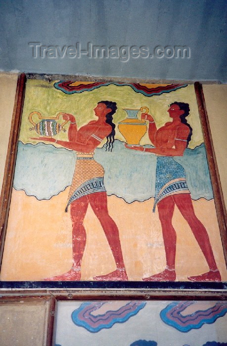 crete72: Crete, Greece - Knossos (Heraklion prefecture): fresco - procession (photo by Miguel Torres) - (c) Travel-Images.com - Stock Photography agency - Image Bank