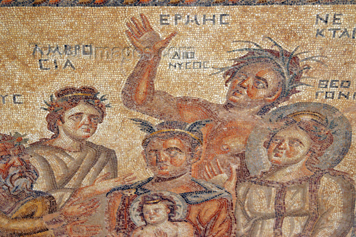 cyprus101: Paphos, Cyprus: Roman mosaic - baby Dionysus and Hermes - house of Aion - photo by A.Ferrari - (c) Travel-Images.com - Stock Photography agency - Image Bank