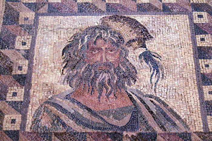 cyprus102: Paphos, Cyprus: Roman mosaic in the house of Dionysos - winter - bearded man - photo by A.Ferrari - (c) Travel-Images.com - Stock Photography agency - Image Bank