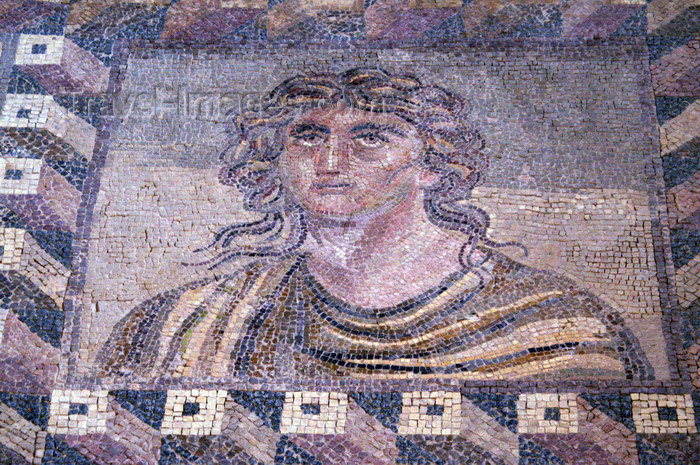 cyprus103: Paphos, Cyprus: Roman mosaic in the house of Dionysos - sad face - photo by A.Ferrari - (c) Travel-Images.com - Stock Photography agency - Image Bank