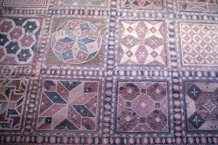 cyprus104: Paphos, Cyprus: Roman mosaic in the house of Dionysos - squares - photo by A.Ferrari - (c) Travel-Images.com - Stock Photography agency - Image Bank