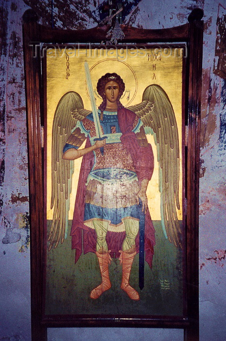 cyprus15: Cyprus - Troodos region - Limassol district: Archangel Michael - church painting - photo by Miguel Torres - (c) Travel-Images.com - Stock Photography agency - Image Bank