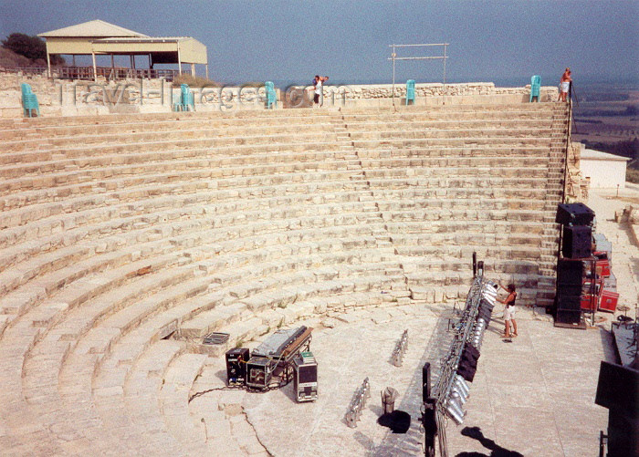 cyprus17: Cyprus - Kourion - Limassol district: getting ready for the show - the theatre - photo by Miguel Torres - (c) Travel-Images.com - Stock Photography agency - Image Bank