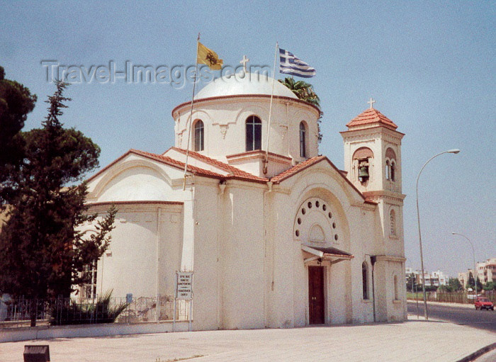 cyprus19: Cyprus - Larnaca / Larnax / LCA: Greek and Orthodox Christian flags at the Agia Faneromeni Church - photo by Miguel Torres - (c) Travel-Images.com - Stock Photography agency - Image Bank