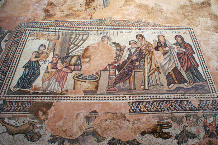 cyprus91: Paphos, Cyprus: first bath of Achilles - Roman mosaics in the house of Theseus - photo by A.Ferrari - (c) Travel-Images.com - Stock Photography agency - Image Bank