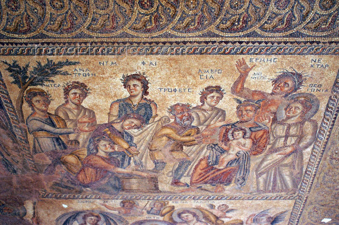 "cyprus98: Paphos, Cyprus: Roman mosaic -  the god Dionysus as the ""divine child"" with a halo about his head being presented by Hermes - house of Aion - photo by A.Ferrari - (c) Travel-Images.com - Stock Photography agency - Image Bank"