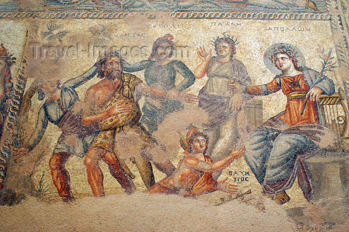 cyprus99: Paphos, Cyprus: mosaic at the Houses of Dionysos - house of Aion - photo by A.Ferrari - (c) Travel-Images.com - Stock Photography agency - Image Bank