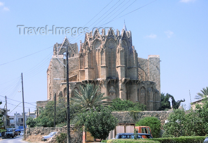 cyprusn40: North Cyprus - Famagusta / Gazimagusa: Lala Mustafa Pasa Mosque - formerly St. Nicholas Cathedral - from the road (photo by Rashad Khalilov) - (c) Travel-Images.com - Stock Photography agency - Image Bank