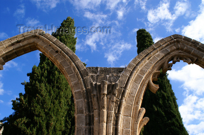 cyprusn61: Bellapais, Kyrenia district, North Cyprus: Bellapais abbey - arcade and Mediterranean Cypress trees - photo by A.Ferrari - (c) Travel-Images.com - Stock Photography agency - Image Bank