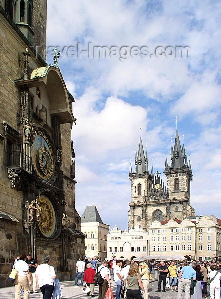 czech140: Czech Republic - Prague / Praha: Astronomical Clock at the old town hall and the Church of Our Lady Before Tyn - photo by J.Kaman - (c) Travel-Images.com - Stock Photography agency - Image Bank