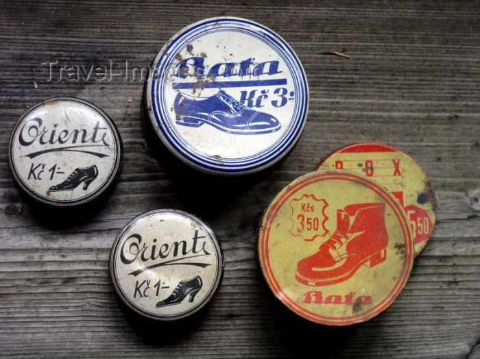 czech167: Czech Republic - Zlín: Old shoe creams made by Czech shoemaker Bata - Batovy závody - photo by J.Kaman - (c) Travel-Images.com - Stock Photography agency - Image Bank